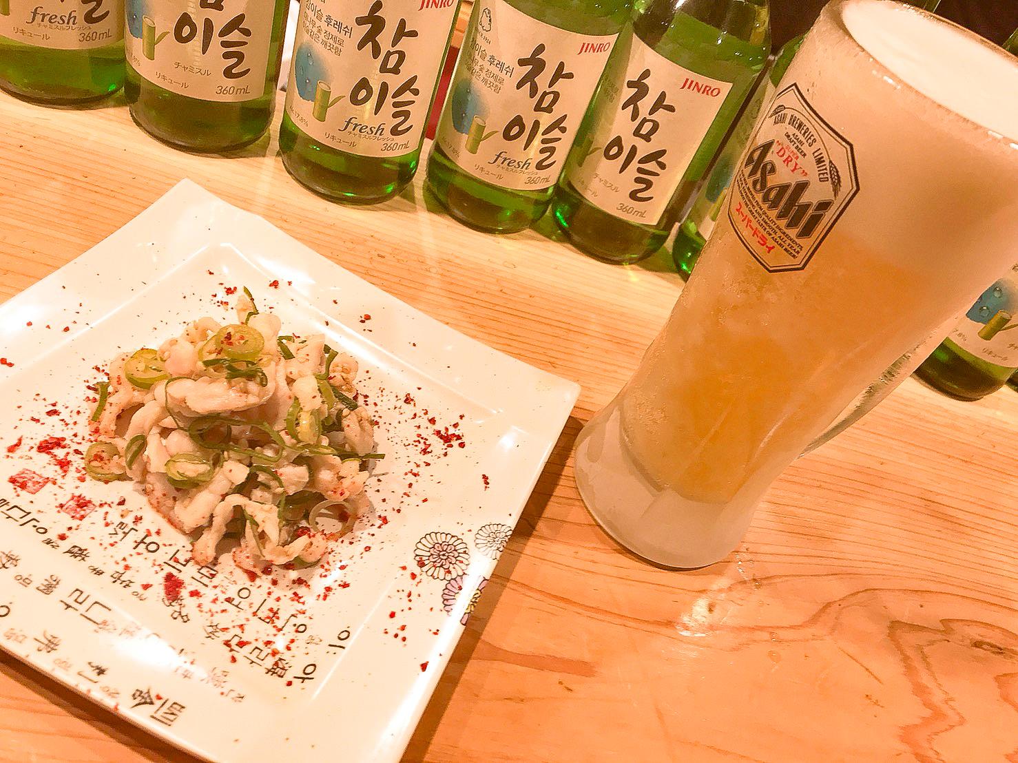 京都 韓国料理 アジョシ ミノの湯引き