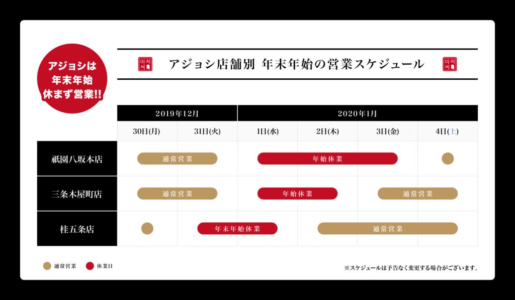 2019年~2020年 年末年始の営業スケジュール